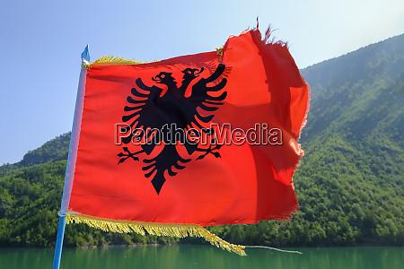 albania shkoder koman lake albanian flag