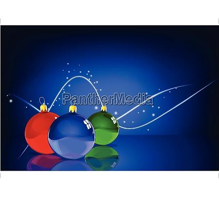 vector illustration of three christmas balls
