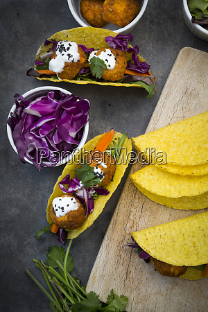 sweet potato falafel in taco shells