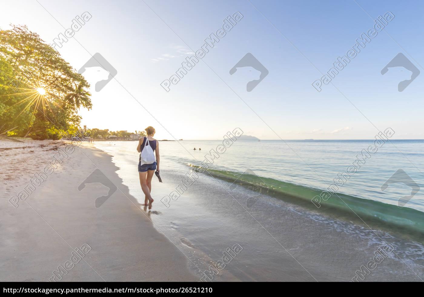 seychelles, , mahe, , beau, vallon, beach, , woman - 26521210