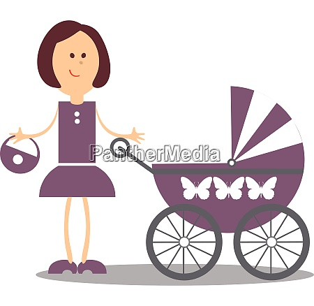 vector girl walking with carriage 18