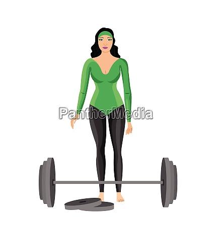vector illustration of sportswomen with dumbbell