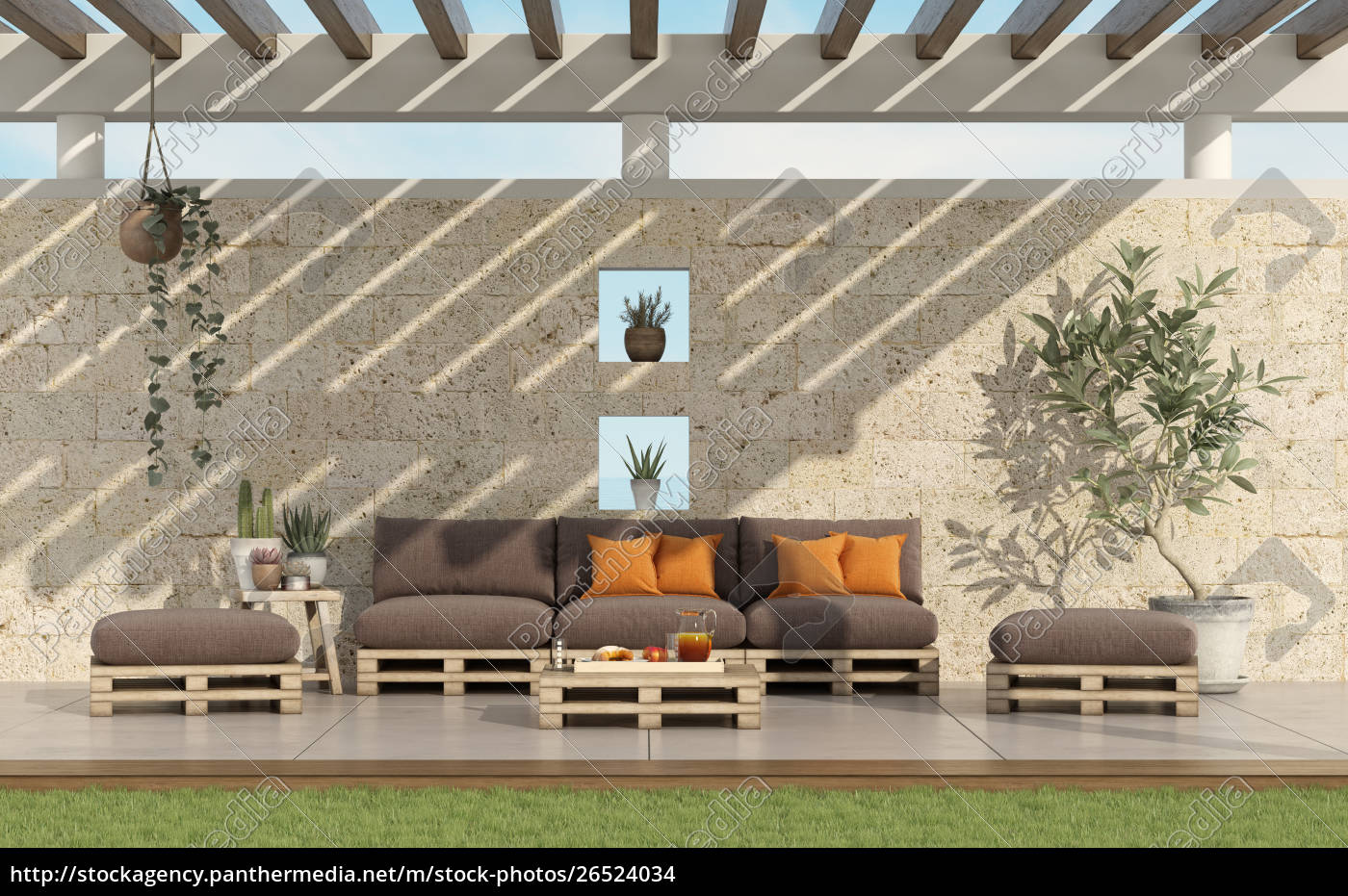 Garden With Pallet Sofa With Stone Wall On Background Stock Image 26524034 Panthermedia Stock Agency