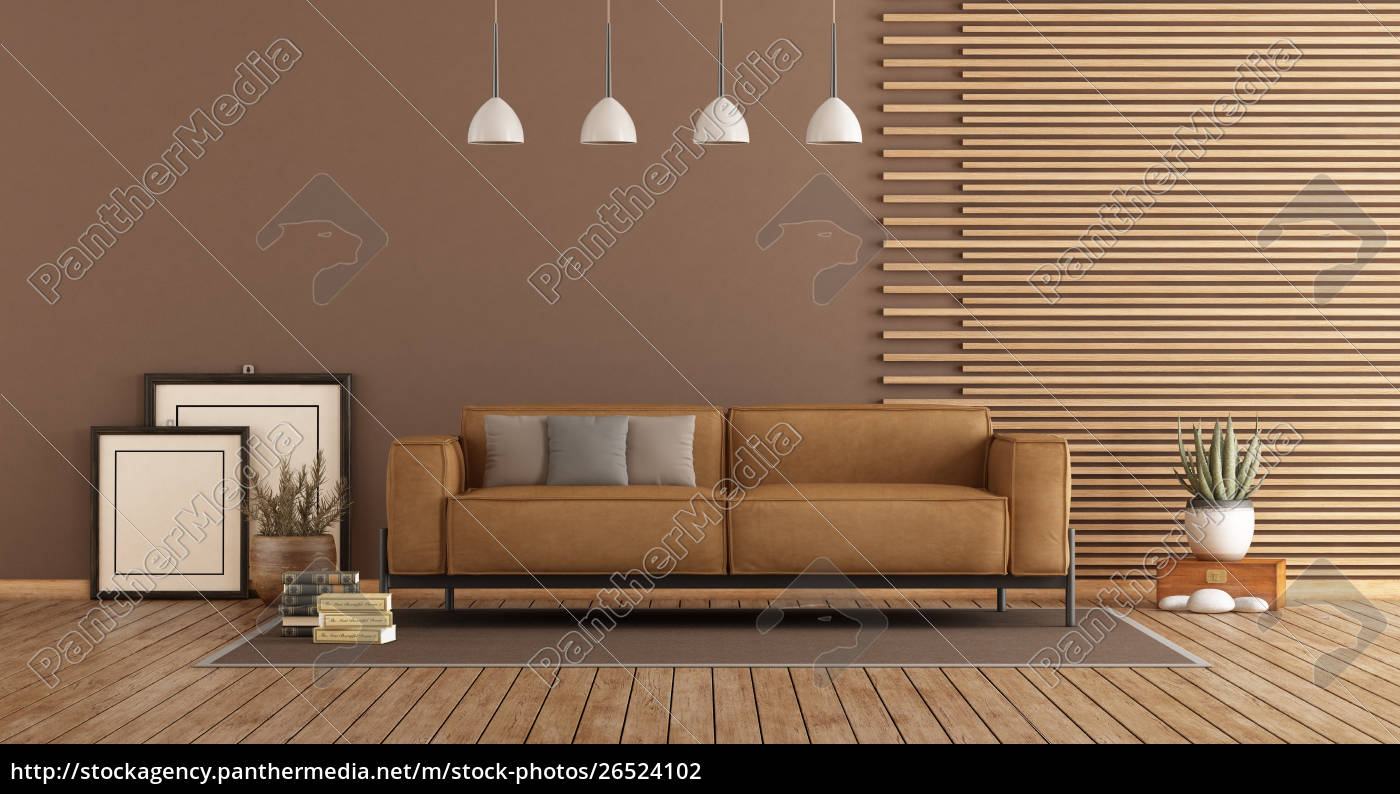 Modern Living Room With Sofa And Wooden, Living Room Wood Paneling