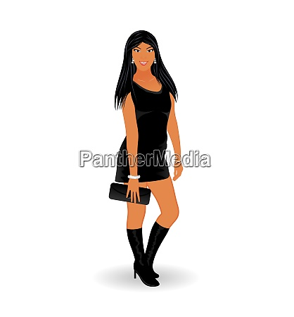 illustration fashion glamor girl isolated