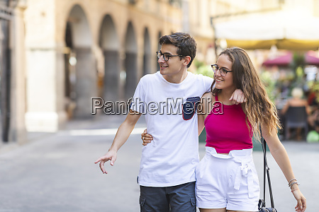 young couple walking together in the