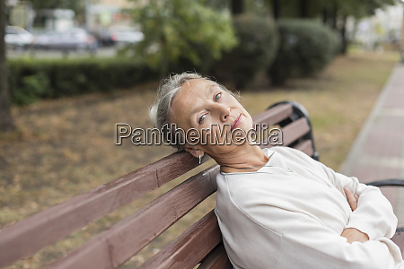 portrait of senior woman relaxing on