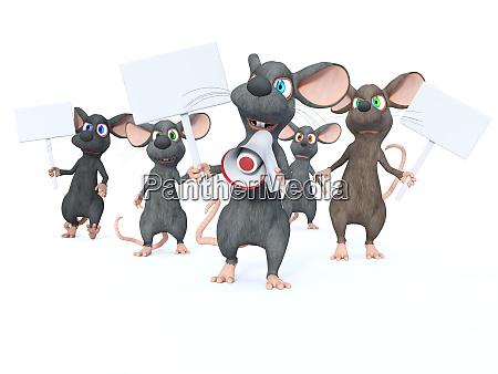 3d rendering of cartoon mice on