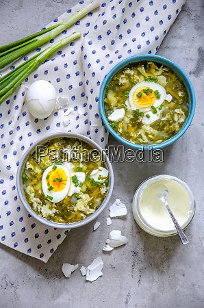 spinach soup with boiled eggs and