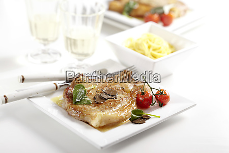 seared veal chop with sage butter