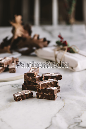 table with chocolate nougat sweets