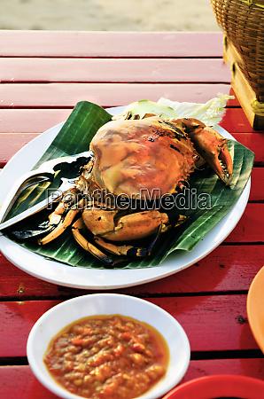 indonesian bbq crab with sambal olek
