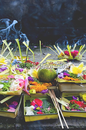 hindu food offerings at a temple