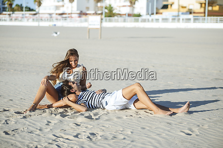 happy affectionate young couple on the