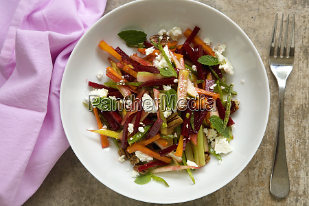 crunchy beetroot salad with mint and