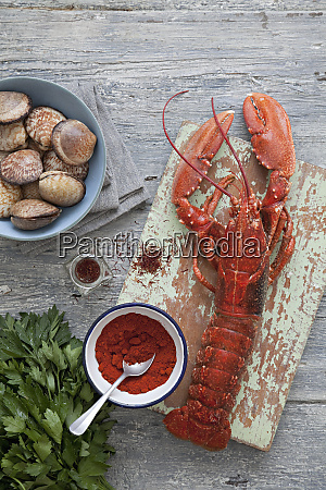 lobster and clams with a selection