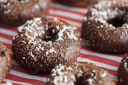 decorated delicious chocolate doughnuts