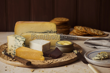 a cheese platter with butter and