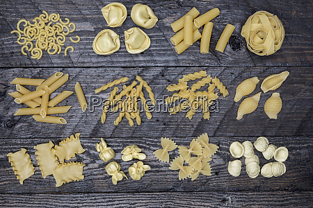 various types of pasta on a