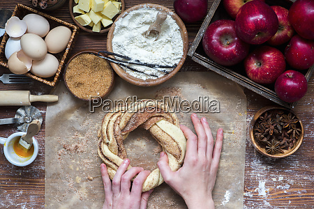 yeast cinnamon bread in the making
