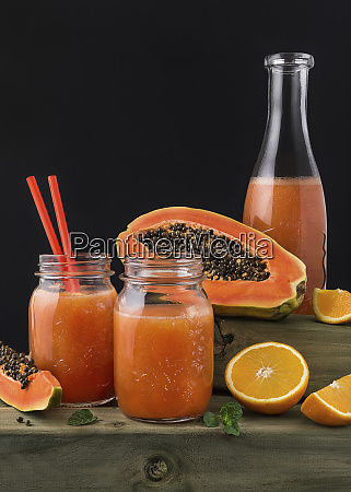 colorful orange and pawpaw drink served