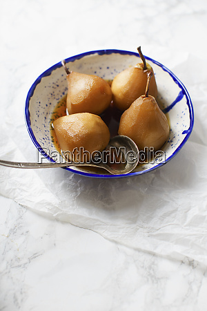 tea poached pears with anise cinnamon