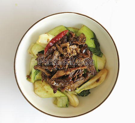 spicy duck with sauted pak choi