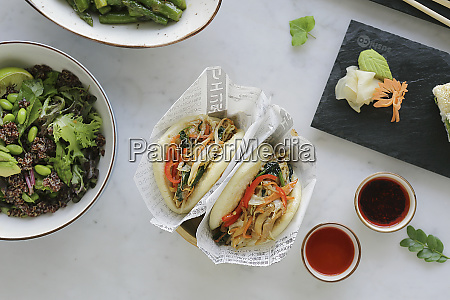 vegetable bun with kinoa salad
