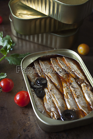 tin of sardines with olives in