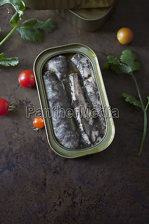 open tin of sardines in oil