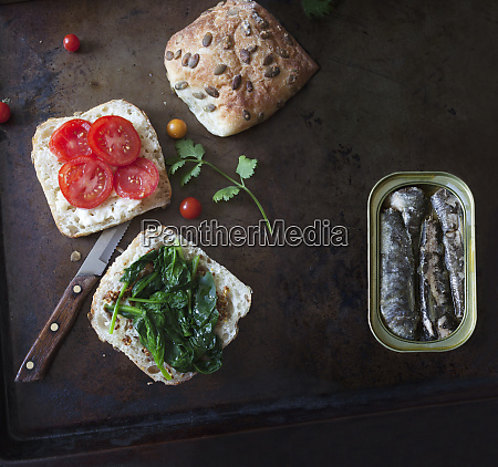 prepared sandwich ready for sardines