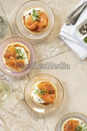 blinis with salmon and cream cheese