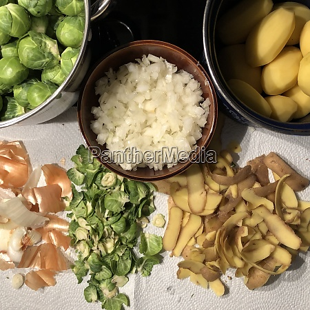 cleaned roses cabbage brussels sprouts onion