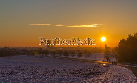 germany bavaria ingolstadt sunset in winter