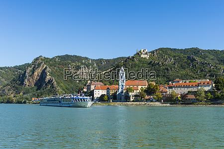 austria wachau cruise ship passing duernstein