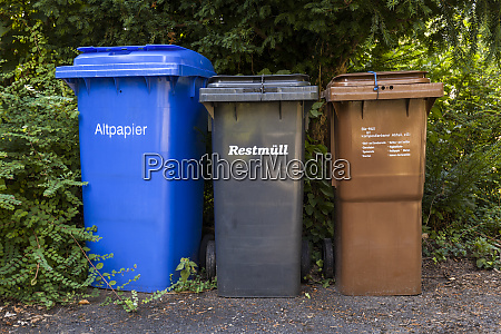 three different dustbins for waste separation