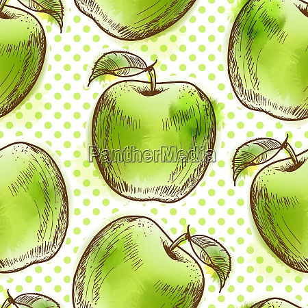 seamless pattern with green apple