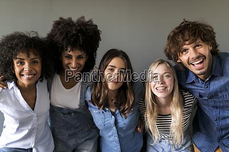 group portrait of happy friends