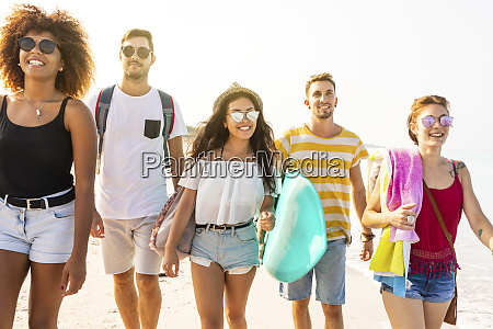 group of friends walking on the