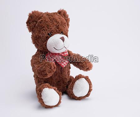 vintage brown teddy bear on white