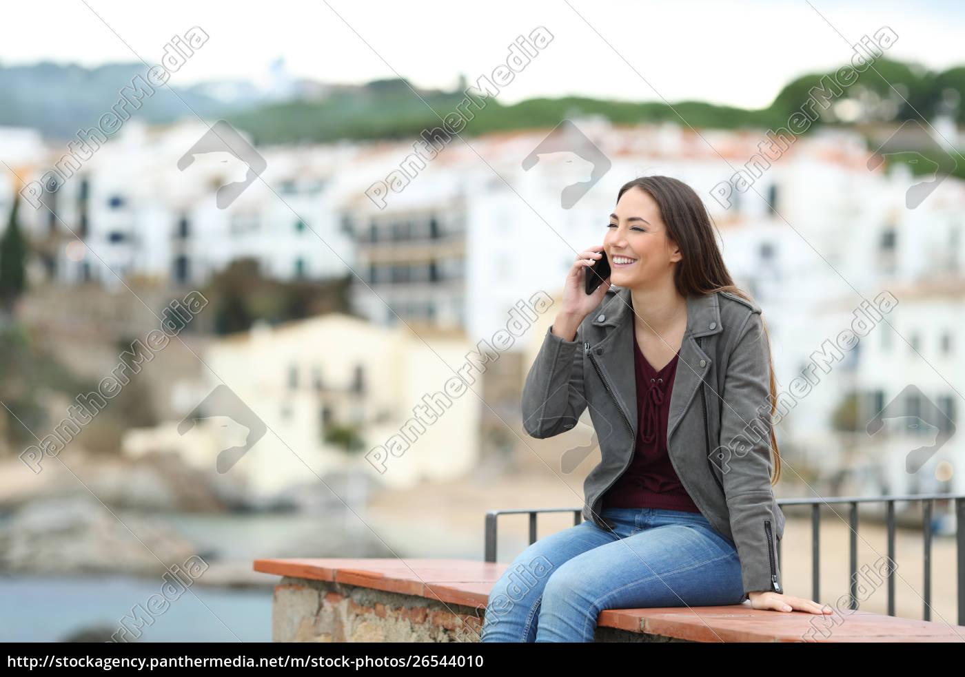 happy, woman, talking, on, phone, on - 26544010