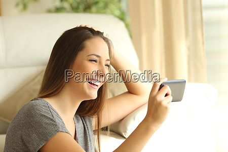 girl watching streaming video in a