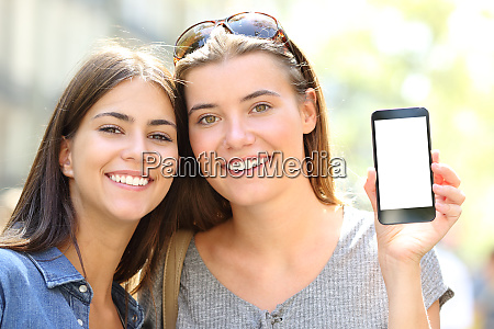 friends with perfect smile showing blank