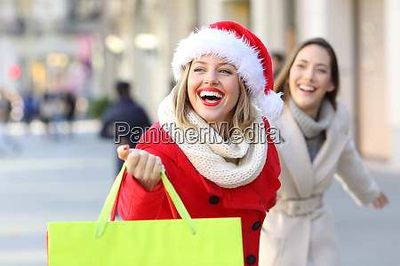 two shoppers shopping running on the