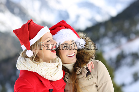 two friends on christmas holidays in