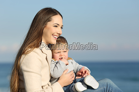 woman and her son looking forward