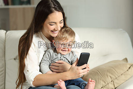 mother and baby playing with a