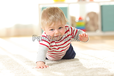 baby crawling towards camera on the