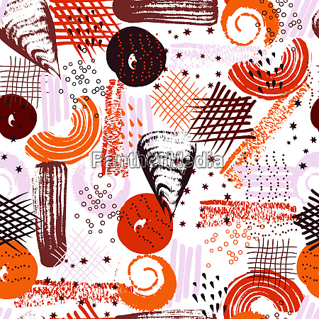 vector seamless pattern with abstract shapes