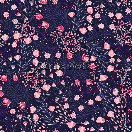 floral seamless pattern hand drawn creative